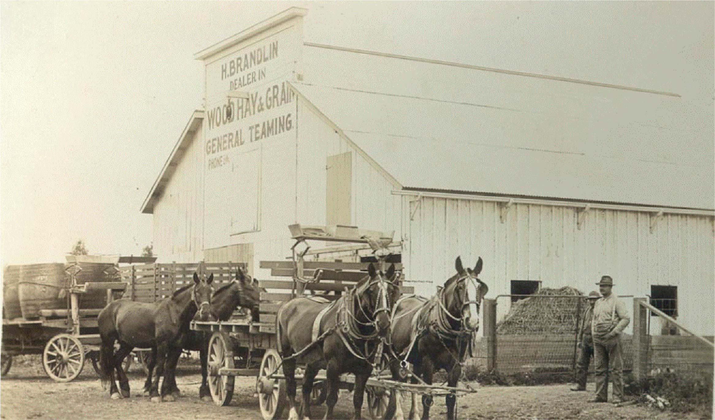 The original barn where the Brandlin family ran the local grain store and stage coach.