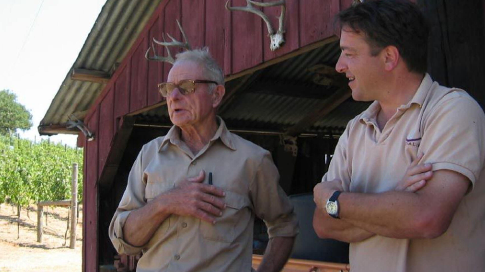 Chester Brandlin sharing his family history with Winemaker, Steve Rogstad.